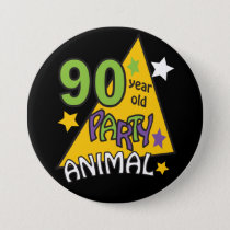 90 Year Old Party Animal | 90th Birthday Button