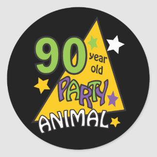 90 Year Old Party Animal | 90th Birthday Classic Round Sticker