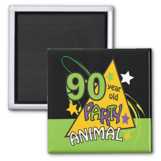 90 Year Old Party Animal   90th Birthday 2 Inch Square Magnet