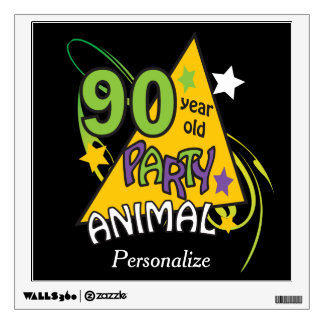 90 Year Old Party Animal | 90th Birthday Wall Stickers