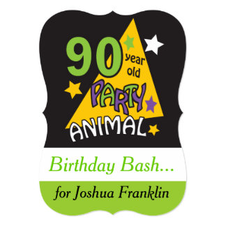 90 Year Old Party Animal Theme Invitations