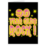 90 Year Olds Rock! (Pink) Greeting Card