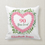 """90 Years Loved 90th Birthday Pillow<br><div class=""""desc"""">Delight a special lady on her 90th birthday with this gorgeous 90 Years Loved pillow.  Personalize with her name or another message.  Perfect 90th birthday gift for the woman who has everything!</div>"""