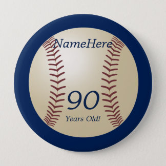 90 Years Old, Baseball on Blue Button Pin