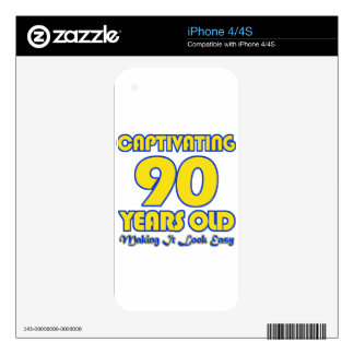 90 YEARS OLD BIRTHDAY DESIGNS SKINS FOR iPhone 4