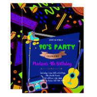 90's birthday theme party invitation