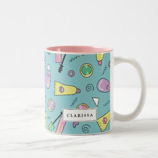 90s Cosmetics Pattern | Custom Name Two-Tone Coffee Mug