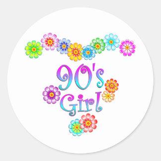 90's Girl Classic Round Sticker