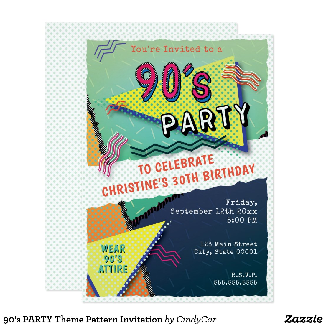 90's PARTY Theme Pattern Invitation