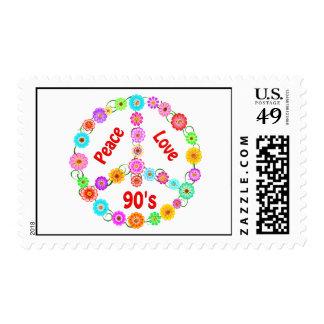 90s Peace Love Postage Stamp