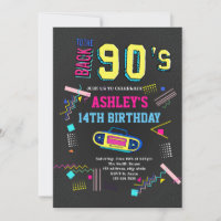 90s theme birthday invitation