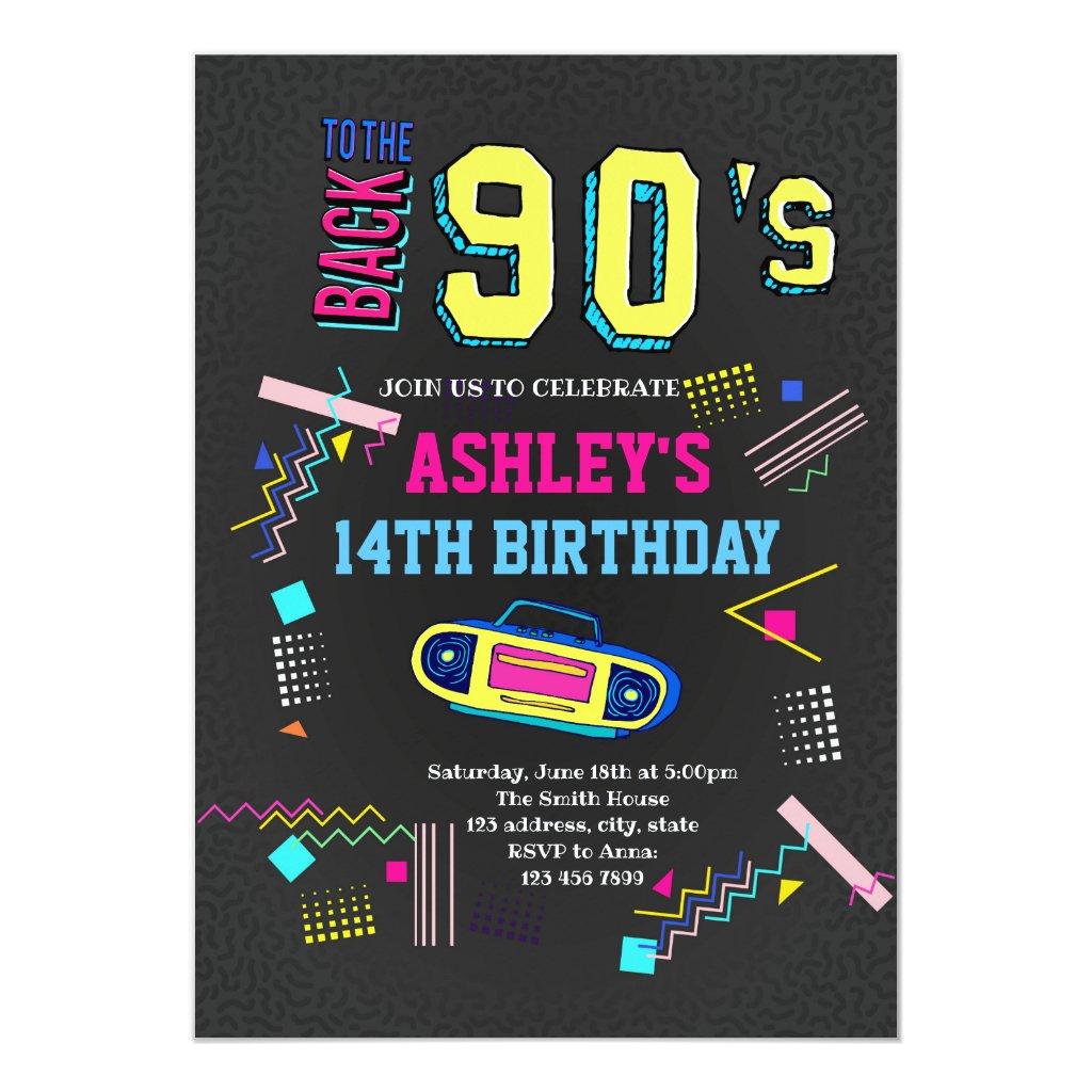 1990 S Theme Party Invitations Retro Invites