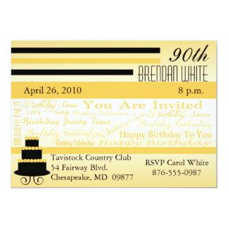 "90th - 99th Birthday Invitations-Enter Your Age 5"" X 7"" Invitation Card"