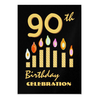 90th - 99th Birthday Party Gold Candles Template Card