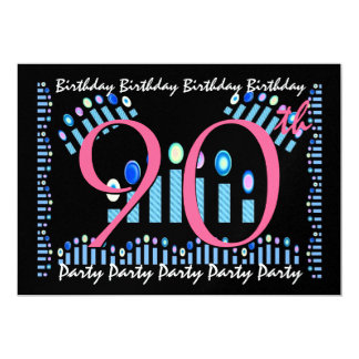 90th - 99th Birthday Party Invitation Blue Candles