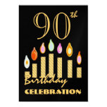 90th - 99th Birthday Party Invitation Gold Candles