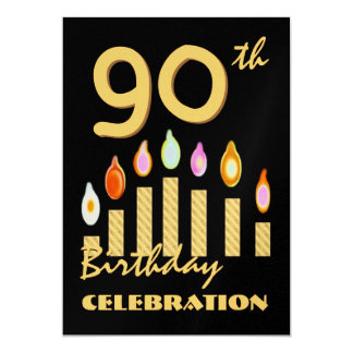 """90th - 99th Birthday Party Invitation Gold Candles 5"""" X 7"""" Invitation Card"""