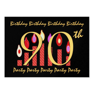 """90th - 99th Birthday Party Invitation Red Candles 5"""" X 7"""" Invitation Card"""