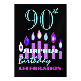 "90th - 99th SURPRISE Birthday Party Invitation 5"" X 7"" Invitation Card"
