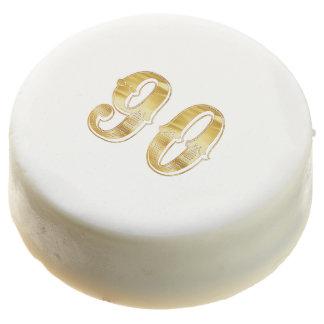 90th Anniversary 90 Birthday Gold White Cookie