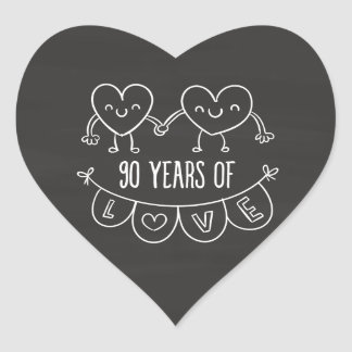 90th Anniversary Gift Chalk Hearts Heart Sticker