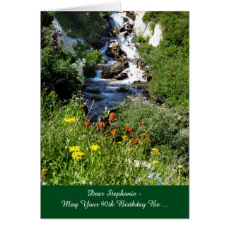 90th Birthday Adventure Waterfall with Wildflowers Card