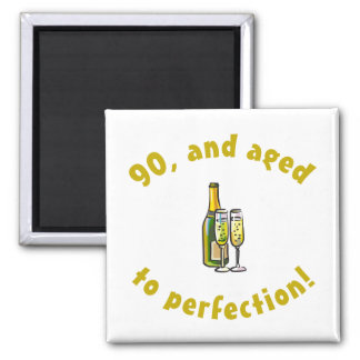 90th Birthday Aged To Perfection 2 Inch Square Magnet