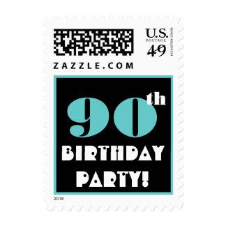 90th Birthday  Aqua and Black Big Bold Lettering Postage Stamp