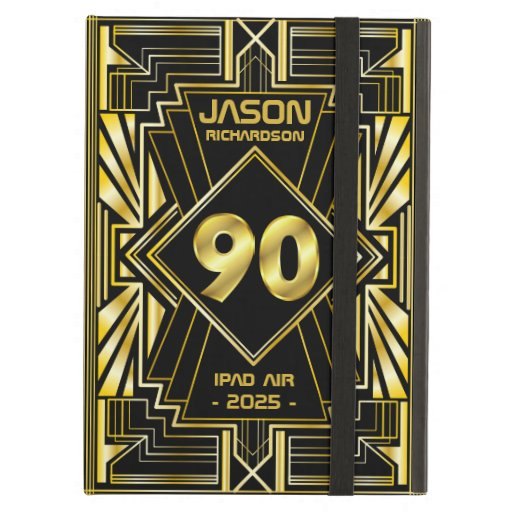 90th Birthday Art Deco Gold Black Great Gatsby Case For iPad Air