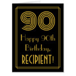 "[ Thumbnail: 90th Birthday: Art Deco Inspired Look ""90"" + Name Card ]"