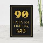 "[ Thumbnail: 90th Birthday ~ Art Deco Inspired Look ""90"" & Name Card ]"