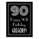 "[ Thumbnail: 90th Birthday — Art Deco Inspired Look ""90"" + Name Card ]"