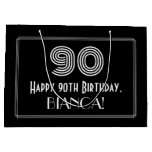 "[ Thumbnail: 90th Birthday — Art Deco Inspired Look ""90"" & Name Gift Bag ]"