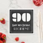 "[ Thumbnail: 90th Birthday: Art Deco Inspired Look ""90"" + Name Napkins ]"