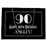 "[ Thumbnail: 90th Birthday: Art Deco Inspired Style ""90"", Name Gift Bag ]"