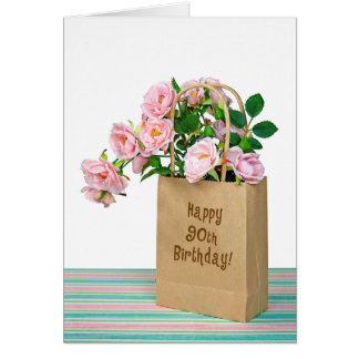 90th Birthday Bag with pink roses Card