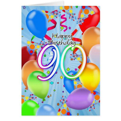 90th Birthday Balloon Card Happy Birt Zazzle