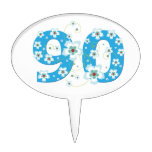 90th birthday beautiful blue hibiscus flowers cake topper