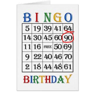 90th Birthday Bingo card