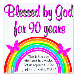 90TH BIRTHDAY BLESSING 5.25X5.25 SQUARE PAPER INVITATION CARD