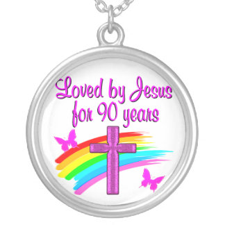 90TH BIRTHDAY BLESSINGS SILVER PLATED NECKLACE