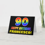 [ Thumbnail: 90th Birthday: Bold, Fun, Simple, Rainbow 90 Card ]