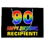 [ Thumbnail: 90th Birthday: Bold, Fun, Simple, Rainbow 90 Gift Bag ]