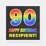 [ Thumbnail: 90th Birthday: Bold, Fun, Simple, Rainbow 90 Napkins ]