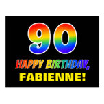 [ Thumbnail: 90th Birthday: Bold, Fun, Simple, Rainbow 90 Postcard ]