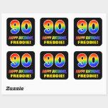 [ Thumbnail: 90th Birthday: Bold, Fun, Simple, Rainbow 90 Sticker ]