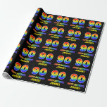 [ Thumbnail: 90th Birthday: Bold, Fun, Simple, Rainbow 90 Wrapping Paper ]
