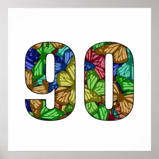 90th Birthday Butterflies Poster