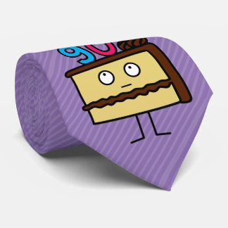 90th Birthday Cake with Candles Neck Tie