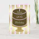 """90th Birthday Card Cake in Pink<br><div class=""""desc"""">This wonderful 90th birthday card for her appears in pink,  gold and white with a chocolate cake as the focal point.  The words """"Happy 90th Birthday"""" appear on the cake to make a gorgeous birthday card.  Copyright Kathy Henis</div>"""